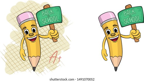 Cartoon pencil with a sign in hands with the words back to school. vector illustration two options on the background of a checkered sheet of paper