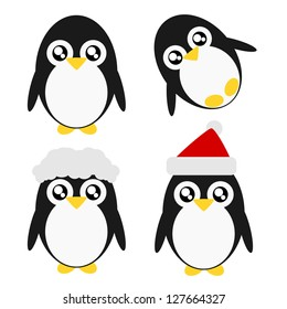 Cartoon penguin action and emotion cute concept illustration