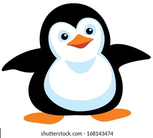 cartoon penguin for babies and little kids. Picture isolated on white background