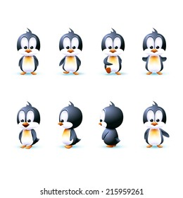 Cartoon penguin in different angles. modal walks and rotates on its axis.  side turned in three-quarter front view stands. Design. Stock vector. Image. Picture. Illustration.