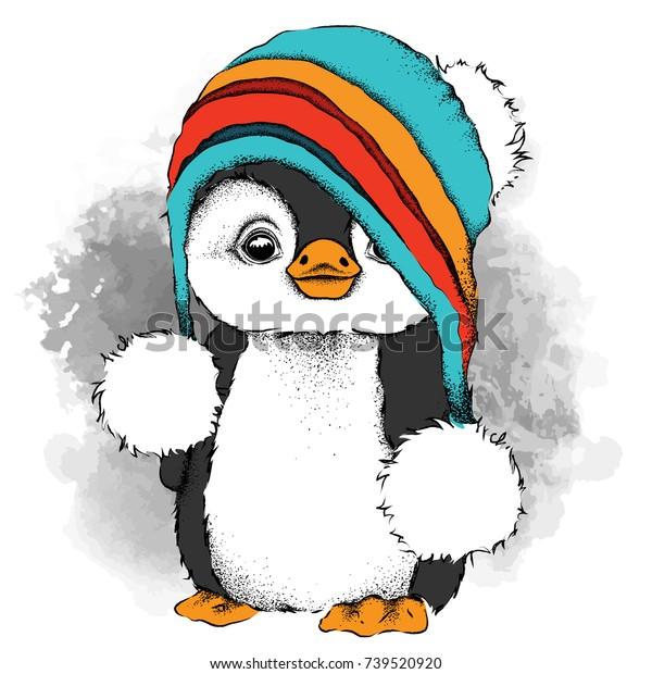 帽子をかぶった漫画のペンギンクリスマスと新年のデザインの