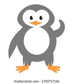 Cartoon Penguin Icon on white background, Vector illustration