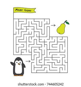 Cartoon penguin maze game. Funny game for children education