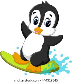 Cartoon penguin surfing