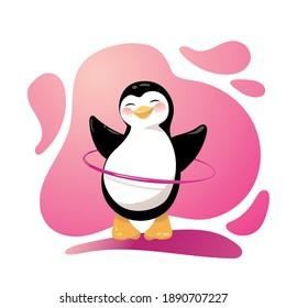 Cartoon penguin is twirling hoop outdoors. Vector Illustration.