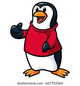 Cartoon Penguin Wearing Shirt Giving Thumbs Up Vector Illustration