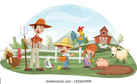 Cartoon people and animals on the farm. Farm background.