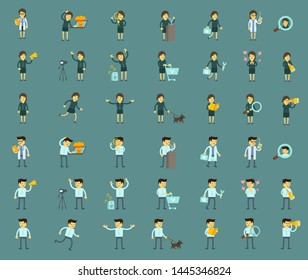 Cartoon people big set character. Man and woman bundle. Collection illustrations. Different situations on blue background