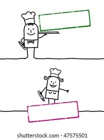 cartoon people & blank stamp 2