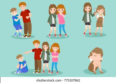 cartoon people with bullying problem on the blue background