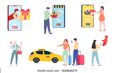 Cartoon people buying online, vector flat illustration. Characters using apps ordering purchases, taxi, making payments isolated on white. E-commerce, shopping, customer goods delivery service.