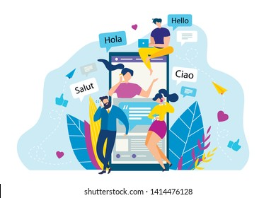 Cartoon People Call Mobile Phone. Foreign Greeting Vector Illustration. Salut Ciao Hola Hello Phrase. International Conversation, Language Learning, Global Communication. Friend Talk Smartphone