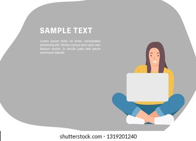 Cartoon people character design banner template woman sitting on the floor with crossed legs and using laptop. Ideal for both print and web design.