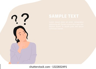 Cartoon people character design banner template question marks with young Asian woman in a thoughtful pose. Ideal for both print and web design.