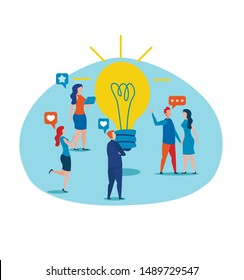 Cartoon People Characters Discuss and Analyzing New Idea Standing by Burning Metaphor Light Bulb. Teamwork, Smart Team, Startup, Business Solution in Social Media Marketing. Vector Flat Illustration