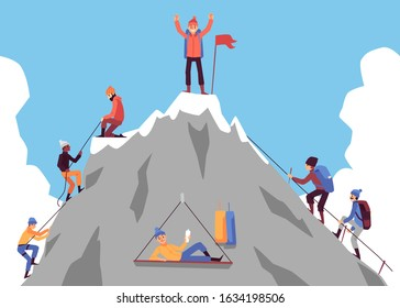 Cartoon people climbing mountain and happy man standing on top with flag celebrating success. Climber group nearing rock peak - flat vector illustration.