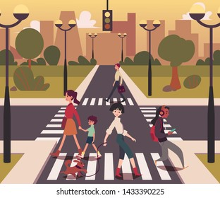 Cartoon people crossing the road, men and women on empty crossroad walking across street in urban background, girl with dog, mother with child on pedestrian line, flat vector illustration