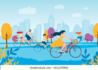 Cartoon People Cycling in Park. City Building Panorama Vector Illustration. Family with Children Tandem Bike. Girl Ride Bicycle. Boy Bycyclist Man Cyclist. Active Leisure Healthy Lifestyle Outdoors
