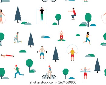 Cartoon people doing sport in summer park - isolated set of athletes doing fitness and health exercises outdoors using equipment. Flat vector illustration