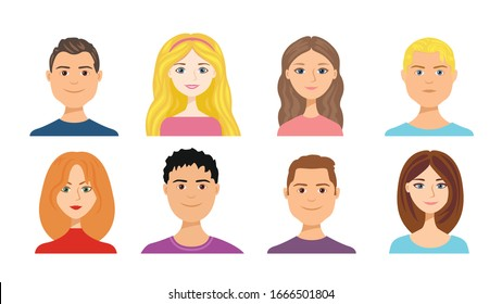Cartoon people faces set isolated on white. Vector illustration of girls and boys with different hair colors in flat style. Woman and man Blonde, brunette, brown-haired and red-haired. Cute avatars.