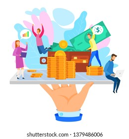 Cartoon People with Gold Coin Dollar Wallet Phone in Hand Vector Illustration. Startup Crowdfunding Financial Investment Internet Service Development Cash Income Bank Loan Sucess Management