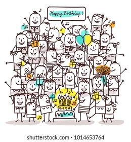 Cartoon People and Happy Birthday