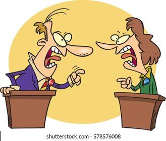 cartoon people having a debate