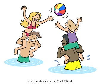 Cartoon of people having a pool chicken fight.