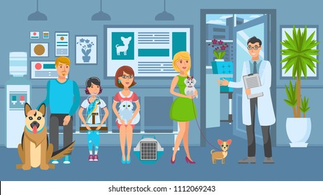 Cartoon people with ill pets sit at reception turn to veterinarian. Vet clinic. Vector illustration.