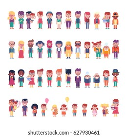 Cartoon people isolated on white. Male and female characters different ages and nationalities. Vector illustrations in cartoon style can be used in any design project.