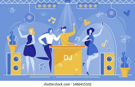 Cartoon People in Nightclub. DJ in Headphones Play Mixing Music Dancefloor, Woman Fangirl Take Photo Selfie Mobile Phone Vector Illustration. Dance Party Night. Concert, Club, Disco