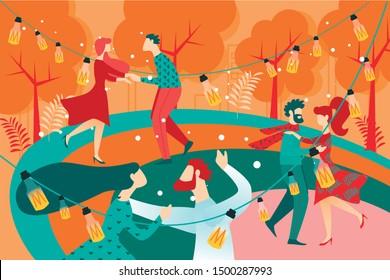 Cartoon People on Dance Floor in Park Vector Illustration. Couple Dance Waltz, Holding Hands. Man Woman Dancer. Night Party Festival Garden Outdoors. Love Romantic Relationship. Music Event