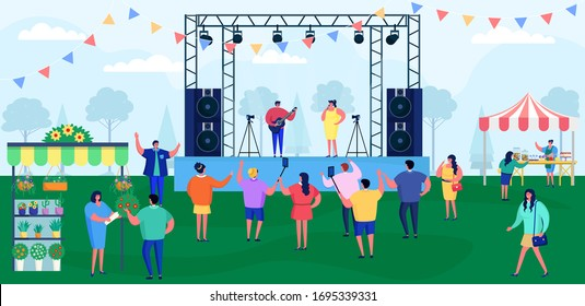 Cartoon people on music festival vector illustration. Flat festivalgoer characters crowd have fun on live concert show with group of musicians and singer on stage. Outdoor fest performance background