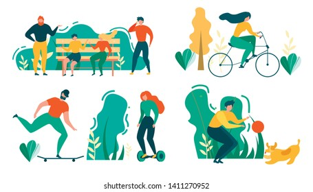 Cartoon People Outdoors Activity. Man and Woman Talk on Bench, Park Walk, Cycling, Ride Skateboard Hoverboard, Play with Dog Pet Vector Illustration. People Recreation Sport Training Healthy Lifestyle