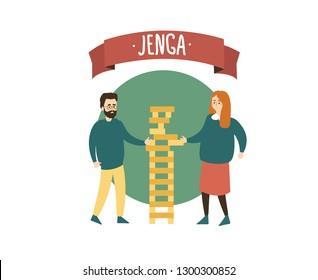 Cartoon people play giant park jenga.