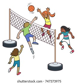 Cartoon of people playing volleyball