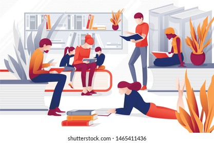Cartoon People Read Books Vector Illustration. Children Family Reading, Man Woman Standing near Bookcase Bookshelf. Book Festival, Literature Event Concept. Library, Bookstore Shop Advertising