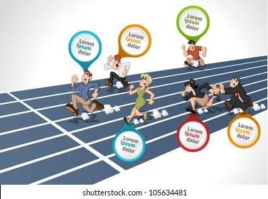 Cartoon people running. High speed race.