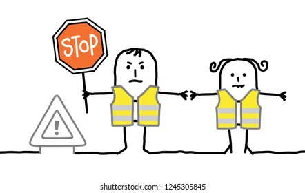 Cartoon people with safety yellow vest and stop sign