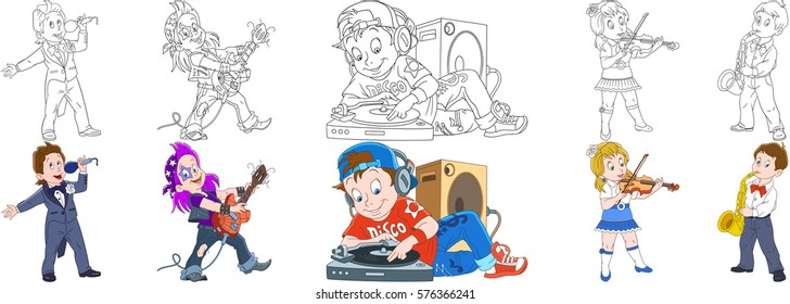Cartoon people set. Collection of musical professions. Opera singer, guitarist of rock and roll band, disk jockey, violinist girl with violin, boy playing saxophone. Coloring book pages for kids.