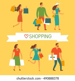 Cartoon people with shopping bags. Sale and shopping illustration set for your design