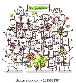 Cartoon People and Spring Time