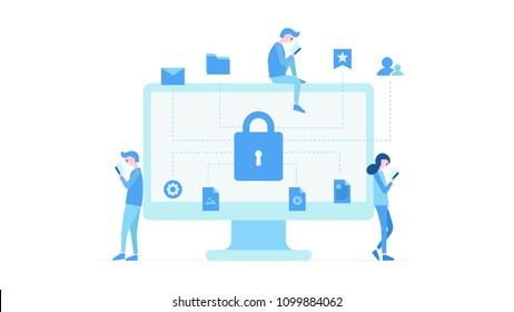 Cartoon people standing sitting near computer monitor using modern gadgets. Display of pc with mail photos settings videos and big lock icons. Computer security concept vector illustration