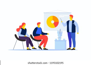 Cartoon people in the team are looking at the pie chart. The young man speaks with his colleagues. Workflow management and data analysis. Vocational training and education. Vector illustration.
