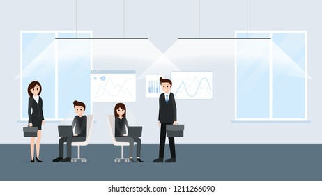 Cartoon people working at office together poster. Businesspeople co-workers in friendly and noisy environment vector illustration. Graphs on background