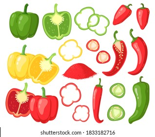 Cartoon peppers. Sweet red, yellow and hot peppers, bell pepper, juicy farm vegetables, pepper slices, cutaway peppers vector illustration set. Veggie rings, seasoning for cooking food