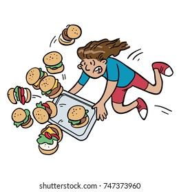 Cartoon of a person tripping over while carrying a tray full of burgers. Burgers on a separate layer, so you can easily swap them out for whatever you like,