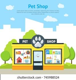 Cartoon Pet Shop Building Card Poster Exterior Facade Domestic Animal Store on a Urban Street. Vector illustration