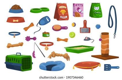 Cartoon pet toys. Assortment of veterinary store, products for dogs or cats. Collection of food bowl, collar and leash. Colorful throwing balls and biting bones. Vector merchandise for animal grooming