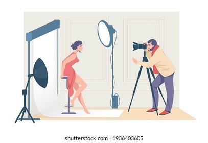 Cartoon photographers shooting model. Man taking pictures with professional camera and light equipment. Woman posing in photo studio, making photography, fashion and beauty vector concept